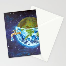 Water crisis, water shortage problem, drought, save water - the concept of original hand painted Stationery Cards