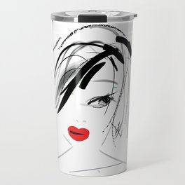 Girl with Red Lips Travel Mug