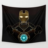 ironman Wall Tapestries featuring IRONMAN - IRONMAN ARC REACTOR by alexa