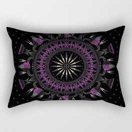 Buffalo Skull and Feathers (Purple) Rectangular Pillow