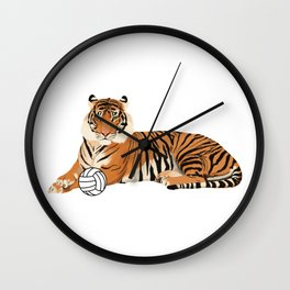 Volleyball Tiger Wall Clock