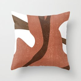 Terracotta Abstract - Modern, Minimal, Contemporary Print - Brown, Burnt Sienna - Abstract Painting Throw Pillow