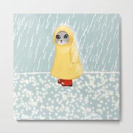 Cat in rain Metal Print