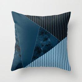 Valencia 3. Abstract, black, blue geometric pattern. Throw Pillow