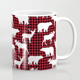 Plaid camping animals minimal bear moose deer nursery decor gender neutral woodland Coffee Mug