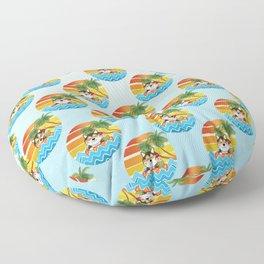 Shiba Inu Enjoys Summer Sunset Floor Pillow