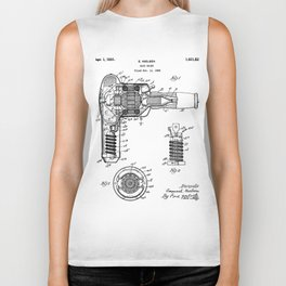 Hair Drier Patent - Salon Art - Black And White Biker Tank