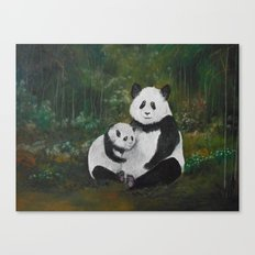 Panda Momma and Baby Canvas Print