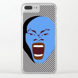 blue man face digital art atalanta creative zollione store Clear iPhone Case