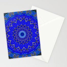 Mandala in Cobalt And Gold Stationery Cards