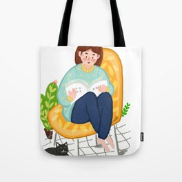 Reading Girl And Cat Tote Bag