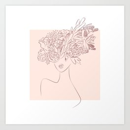 [Minimalist style - Line art] Flower camouflaged woman and sky - Spring - Art Print