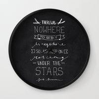 kerouac Wall Clocks featuring On The Road - Jack Kerouac by Samantha Lynch