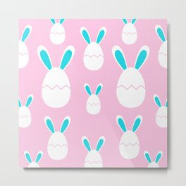 Happy Bunnies in Pink | Easter Bunny | Easter Egg Bunny | pulps of wood Metal Print