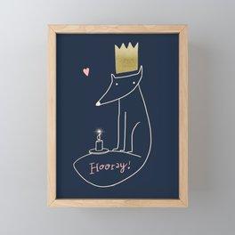 Happy Birthday Fox! - Dark Navy Framed Mini Art Print