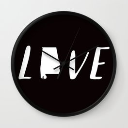 Alabama Love - Black and White Wall Clock