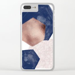 Blush Pink and Indigo Hex III Clear iPhone Case
