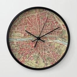 Vintage Map of Paris France (1784) Wall Clock