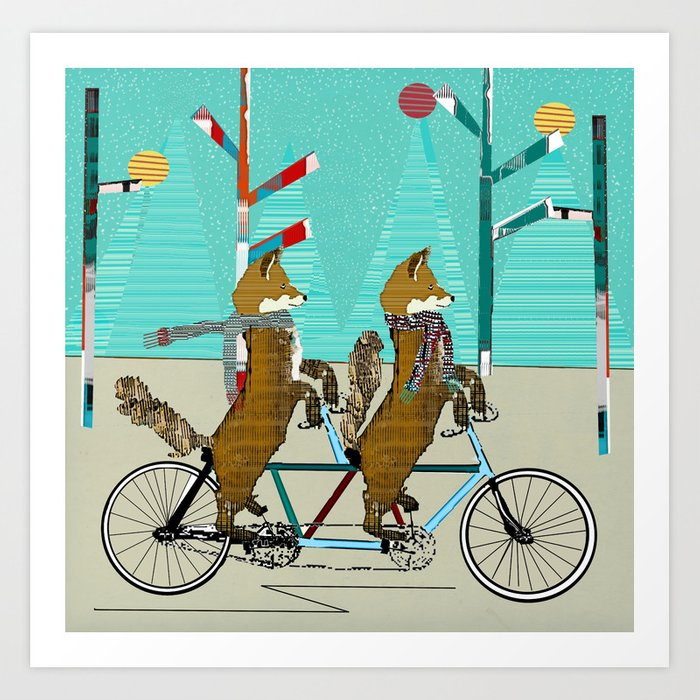 Foxy days lets tandem Art Print