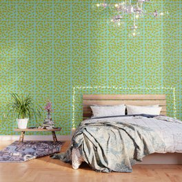 Lemon Slices Pattern Turquoise Wallpaper