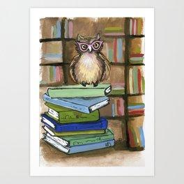 Owl the Librarian Art Print