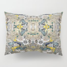 Passion Flower Baroque in Gold Yellow Grey Pillow Sham