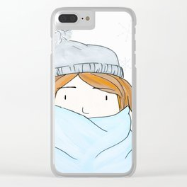 Girl With A Beanie Clear iPhone Case