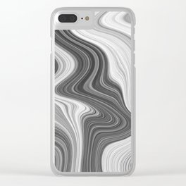 Black and White Agate Texture Clear iPhone Case