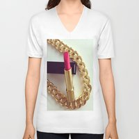 lipstick V-neck T-shirts featuring LIPSTICK by I Love Decor