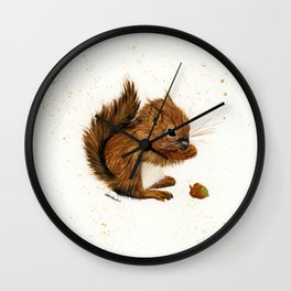 Baby Squirrel - animal watercolor painting Wall Clock