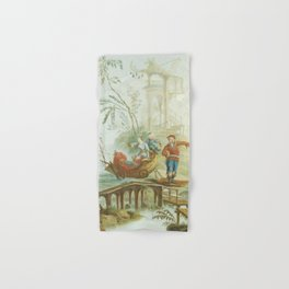 Light Green & Red Chinoiserie Hand & Bath Towel