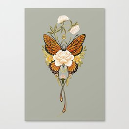 Butterfly Peonies Tattoo Canvas Print