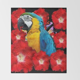 Red Hibiscus Flowers & Blue Macaw Parrot Black Accents Throw Blanket