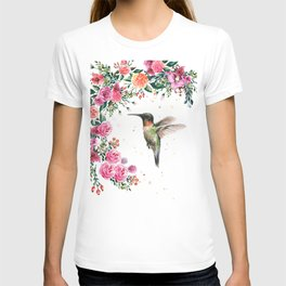 Hummingbird and Flowers Watercolor Animals T-shirt
