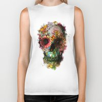 floral pattern Biker Tanks featuring SKULL 2 by Ali GULEC