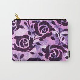 Black  Flowers and messy pink Carry-All Pouch