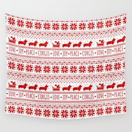 Love, Joy, Peace, Corgis | Humorous Dogs Christmas Pattern Wall Tapestry