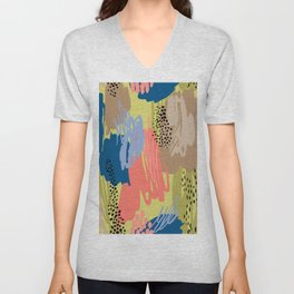 Modern coral brown blue black abstract brushstrokes Unisex V-Neck