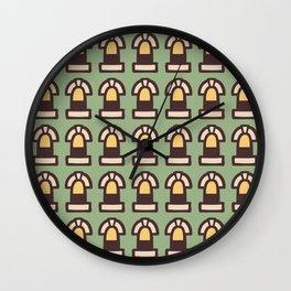 New York Windows Pattern 261 Brown Green and Yellow Wall Clock
