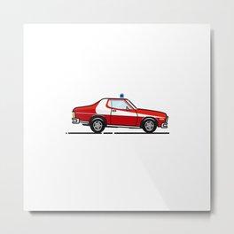 Starsky 7 Hutch Ford Torino (White background) Metal Print