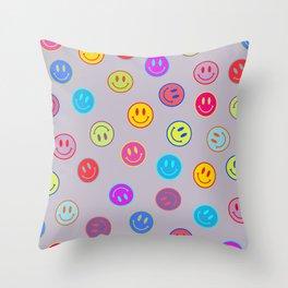 Smileys Obsessed Prpl Throw Pillow