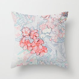 Spring Red Flowers Throw Pillow