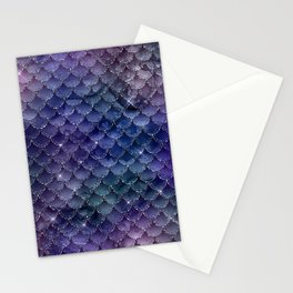 Mermaid Scales Ombre Glitter 3 Stationery Cards
