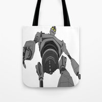 iron giant Tote Bags featuring Iron Giant. by Steven Goddard
