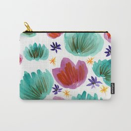 Teal and Pink Watercolor Pattern Carry-All Pouch