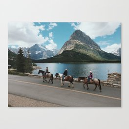 Horseback Riding, Swiftcurrent Lake, Many Glacier, Glacier National Park, Montana Canvas Print