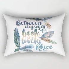 Between the Pages - Feathery White Rectangular Pillow