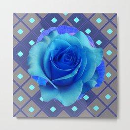 Luminous Electric Blue Rose on Grey Pattern Art Metal Print