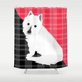 Fiona the  Westie with Red and Black Plaid Shower Curtain
