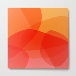 Abstract Organic Shapes in Red Metal Print